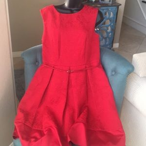 Red flare party dress.